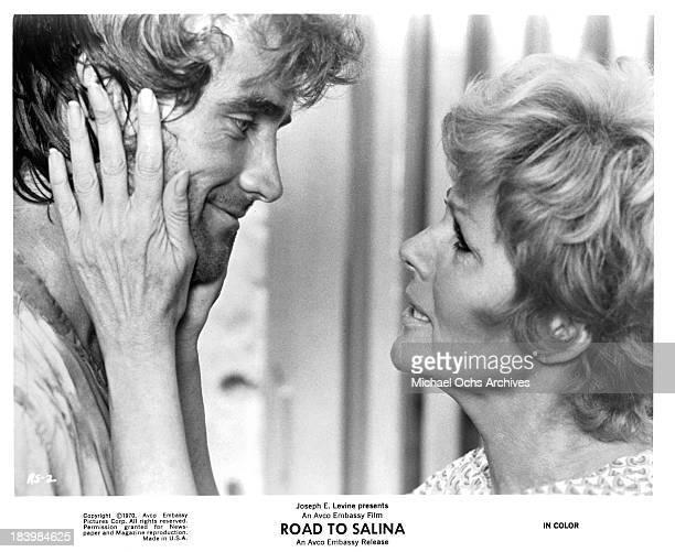 Actor Robert Walker Jr and actress Rita Hayworth on set of the movie 'Road to Salina' in 1970
