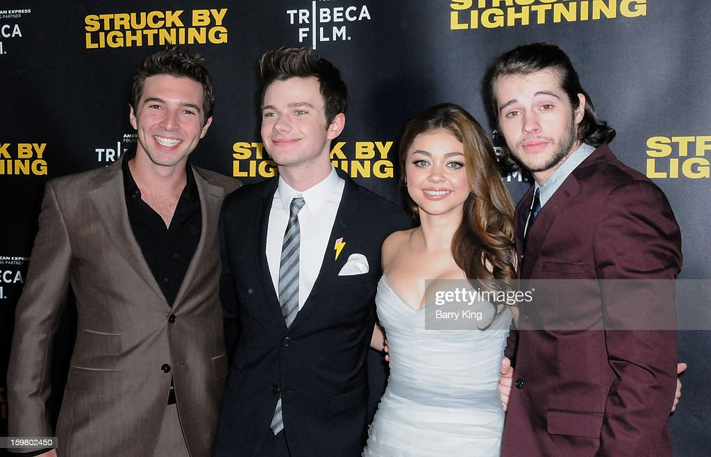 Actor Roberto Aguire, actor <a gi-track='captionPersonalityLinkClicked' href=/galleries/search?phrase=Chris+Colfer&family=editorial&specificpeople=5662110 ng-click='$event.stopPropagation()'>Chris Colfer</a>, actress <a gi-track='captionPersonalityLinkClicked' href=/galleries/search?phrase=Sarah+Hyland&family=editorial&specificpeople=3989646 ng-click='$event.stopPropagation()'>Sarah Hyland</a> and actor <a gi-track='captionPersonalityLinkClicked' href=/galleries/search?phrase=Matt+Prokop&family=editorial&specificpeople=5363862 ng-click='$event.stopPropagation()'>Matt Prokop</a> attend the 'Struck By Lightning' premiere at Mann Chinese 6 on January 6, 2013 in Los Angeles, California.