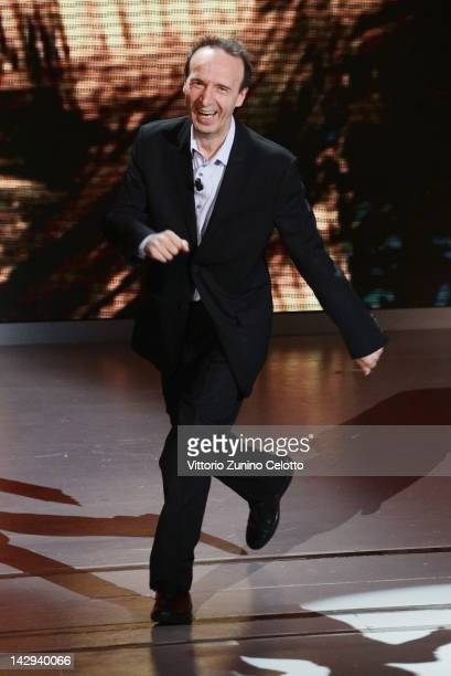 Actor Roberto Benigni attends 'Che Tempo Che Fa' TV Show on April 15 2012 in Milan Italy