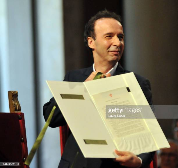 Actor Roberto Benigni attends the ceremony at which he received the honorary citizenship of Florence at the Palazzo Vecchio on June 15 2012 in...