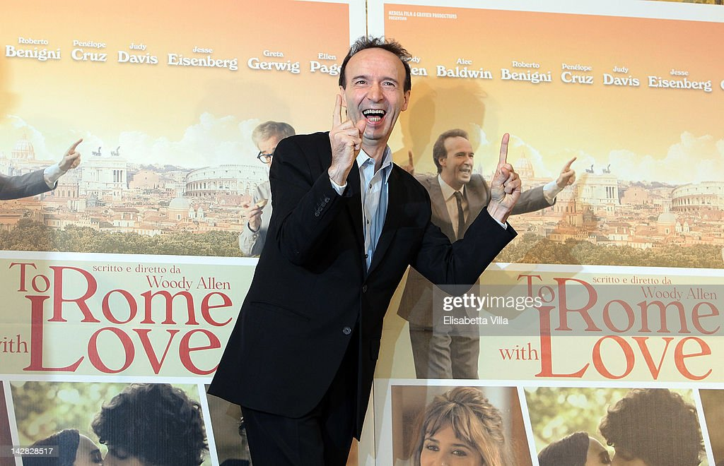 Actor <a gi-track='captionPersonalityLinkClicked' href=/galleries/search?phrase=Roberto+Benigni&family=editorial&specificpeople=217583 ng-click='$event.stopPropagation()'>Roberto Benigni</a> attends 'To Rome With Love' photocall at Hotel Parco dei Principi on April 13, 2012 in Rome, Italy.