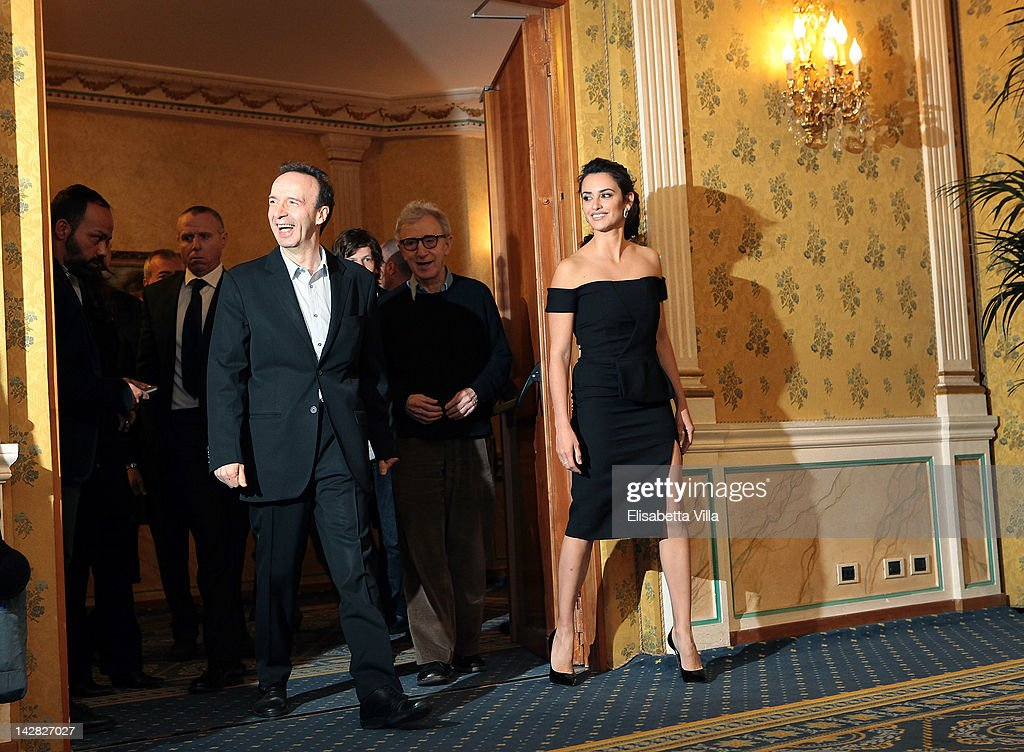 Actor <a gi-track='captionPersonalityLinkClicked' href=/galleries/search?phrase=Roberto+Benigni&family=editorial&specificpeople=217583 ng-click='$event.stopPropagation()'>Roberto Benigni</a>, director <a gi-track='captionPersonalityLinkClicked' href=/galleries/search?phrase=Woody+Allen&family=editorial&specificpeople=202886 ng-click='$event.stopPropagation()'>Woody Allen</a> and actress Penelope Cruz attend 'To Rome With Love' photocall at Hotel Parco dei Principi on April 13, 2012 in Rome, Italy.