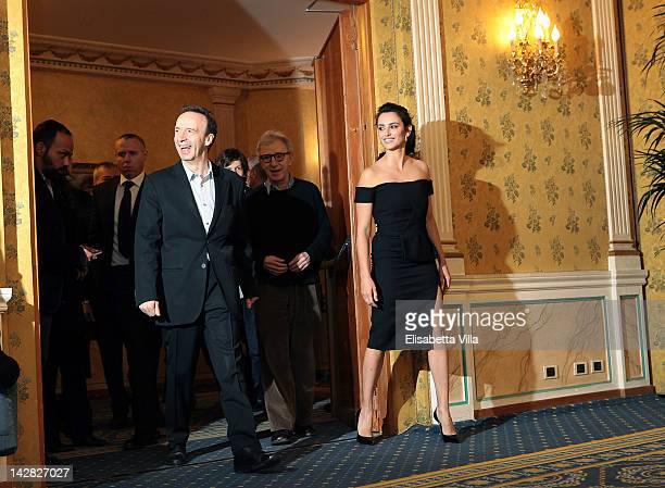 Actor Roberto Benigni director Woody Allen and actress Penelope Cruz attend 'To Rome With Love' photocall at Hotel Parco dei Principi on April 13...