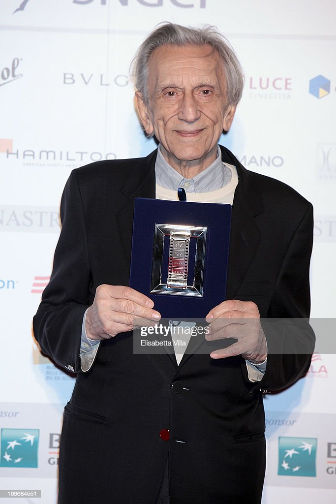Actor Roberto Herlitza shows his award during the '2013 Nastri d'Argento' Award Nominations at Maxxi Museum on May 30, 2013 in Rome, Italy.