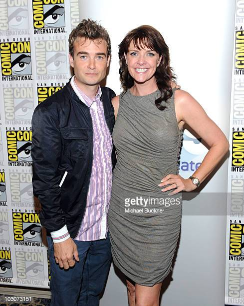 Actor Robin Dunne and actress Amanda Tapping attend 'Sanctuary' Panel and Press Conference at Hilton San Diego Bayfront Hotel during ComicCon 2010 on...