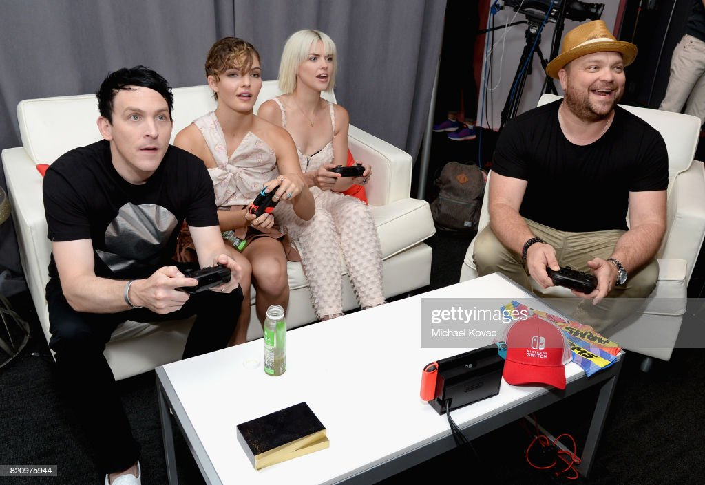 Actor Robin Lord Taylor, actress Camren Bicondova, actress Erin Richards, and Drew Powell of the FOX series 'Gotham' stopped by Nintendo at the TV Insider Lounge to check out Nintendo Switch during Comic-Con International at Hard Rock Hotel San Diego on July 22, 2017 in San Diego, California.