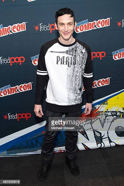 Actor Robin Lord Taylor poses in the press room for the 'Gotham' panel during ComicCon Day 4 at The Jacob K Javits Convention Center on October 11...