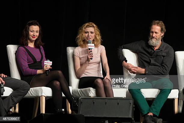 Actor Robin McLeavy Kasha Kropibski and Christopher Heyerdahl participate in the 'Hell on Wheels' panel discussion at the Expo Pavillion during the...