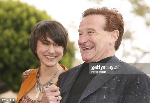 Actor Robin Williams and daughter Zalda pose at the premiere of Columbia Picture's 'RV' at the Village Theater on April 23 2006 in Los Angeles...