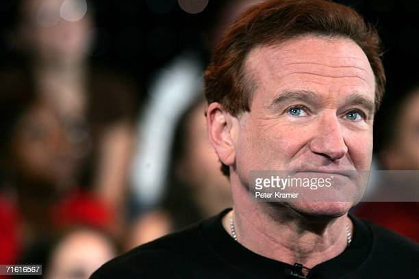 Actor Robin Williams appears onstage during MTV's Total Request Live at the MTV Times Square Studios on April 27 2006 in New York City It was...
