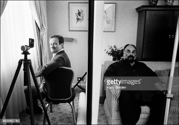 Actor Robin Williams is photographed with publicist for The Observer Magazine on February 27 1999 in London England