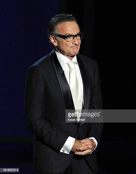 Actor Robin Williams speaks onstage during the 65th Annual Primetime Emmy Awards held at Nokia Theatre LA Live on September 22 2013 in Los Angeles...