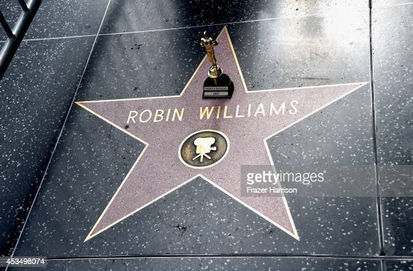 Actor Robin Williams' star is seen on the Hollywood Walk of Fame on August 11 2014 in Los Angeles California