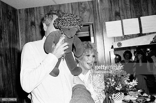 Actor Rock Hudson and singer Dusty Springfield backstage at The Grand Finale in New York October 7 1980