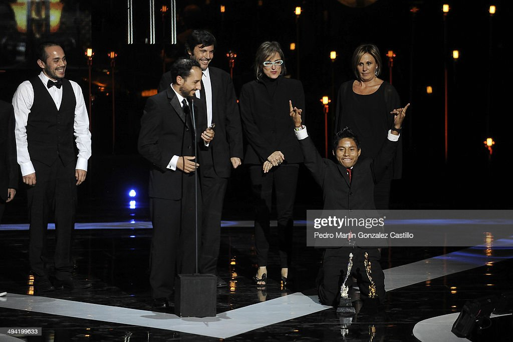 Actor Rodolfo Rodriguez receives the Ariel Award as best supportingrole during the 56th Ariel Awards Ceremony at Palace of Fine Arts on May 27 2014...
