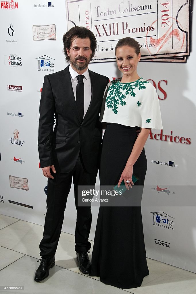 Actor Rodolfo Sancho and Spanish actress Michelle Jenner attend the 23th Union de Actores awards at the Coliseum Theater on March 10, 2014 in Madrid, Spain.