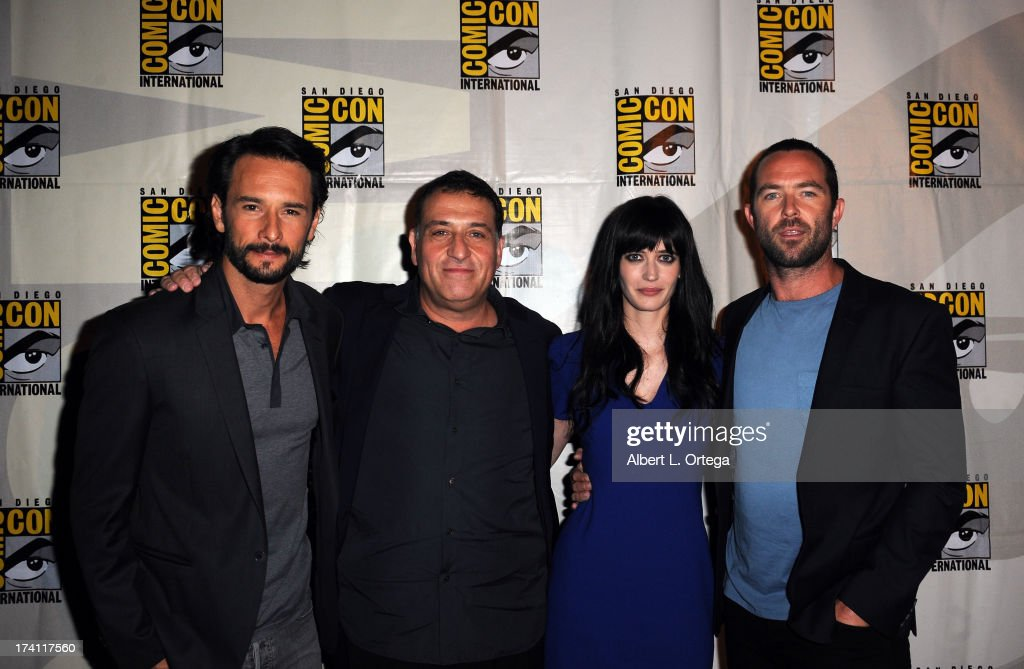 Actor Rodrigo Santoro, director Noam Murro, actress Eva Green and actor Sullivan Stapleton speak onstage at the Warner Bros. and Legendary Pictures preview of '300: Rise of an Empire' during Comic-Con International 2013 at San Diego Convention Center on July 20, 2013 in San Diego, California.