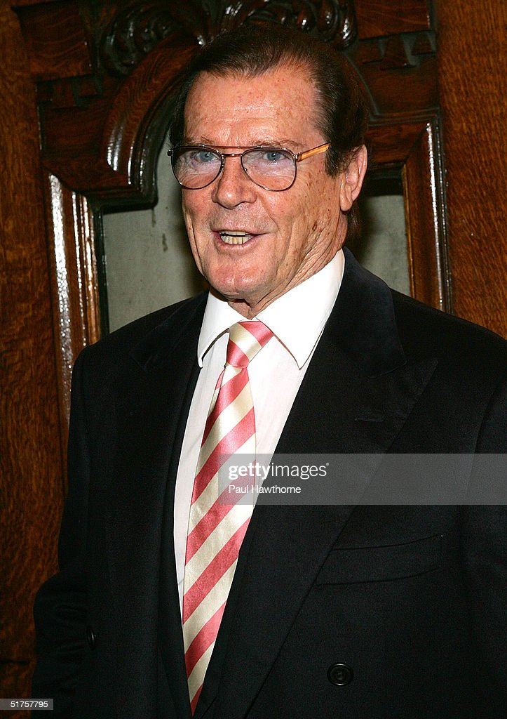 Actor <a gi-track='captionPersonalityLinkClicked' href=/galleries/search?phrase=Roger+Moore+-+Actor&family=editorial&specificpeople=160468 ng-click='$event.stopPropagation()'>Roger Moore</a> attends the opening night celebration of 'Whoopi' on Broadway at the Lyceum Theatre November 17, 2004 in New York City.