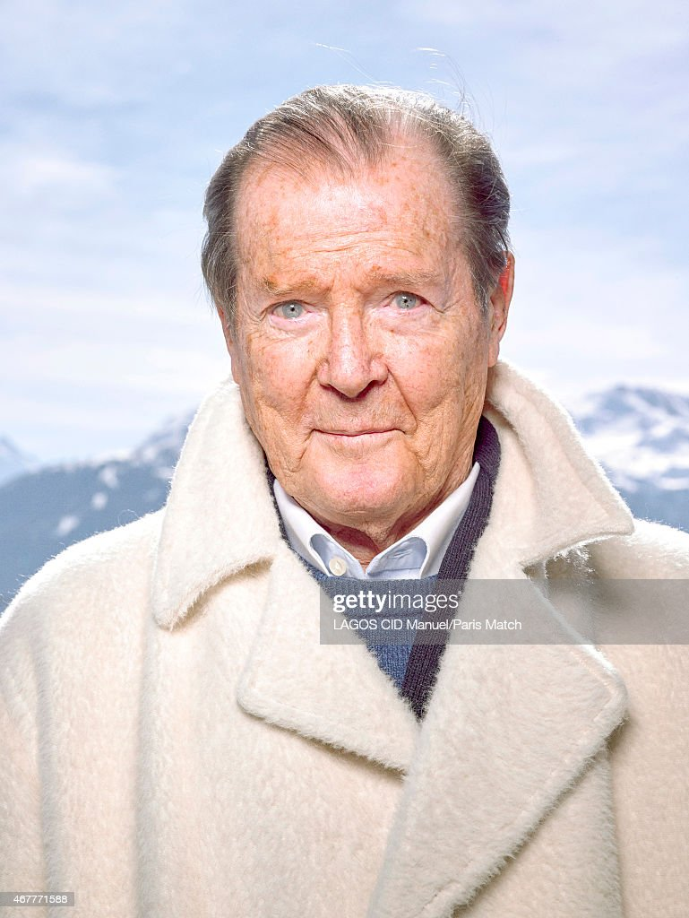 Actor <a gi-track='captionPersonalityLinkClicked' href=/galleries/search?phrase=Roger+Moore+-+Actor&family=editorial&specificpeople=160468 ng-click='$event.stopPropagation()'>Roger Moore</a> is photographed for Paris Match on March 9, 2015 in Crans-Montana, Switzerland.
