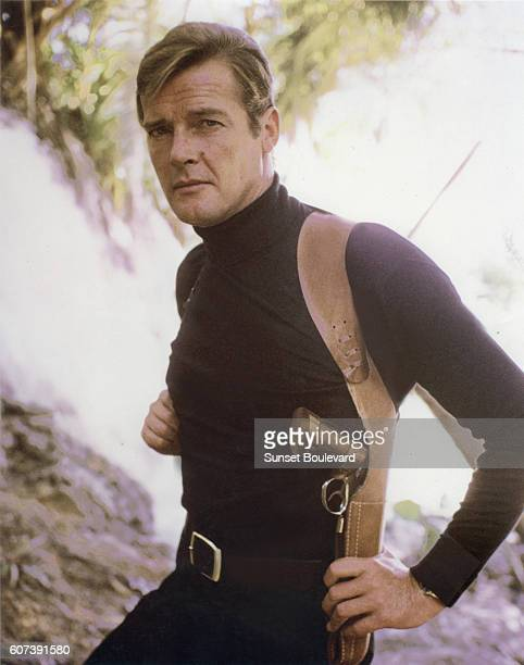 Actor Roger Moore on the set of 'Live And Let Die'