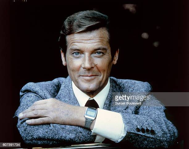 Actor Roger Moore on the set of 'Moonraker'