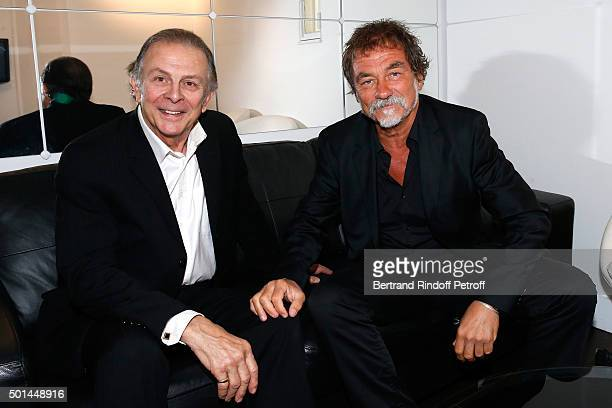 Actor Roland Giraud and Main Guest of the Show actor Olivier Marchal attend the 'Vivement Dimanche' French TV Show at Pavillon Gabriel on December 15...
