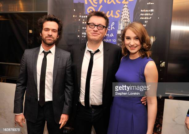 Actor Romain Duris director Regis Roinsard and actress Deborah Francois attend the US premiere of 'Populaire' hosted by The Film Society of Lincoln...