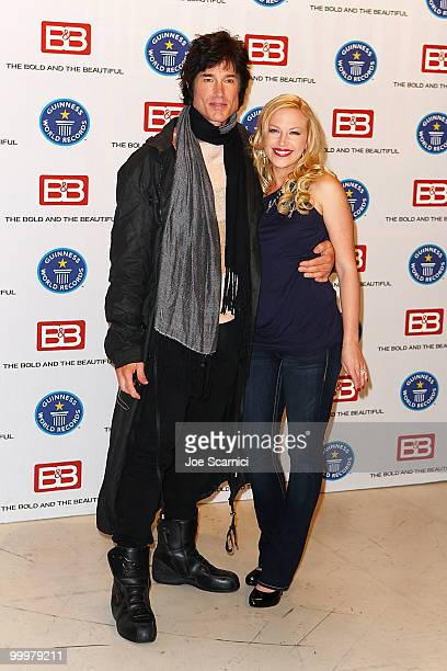 Actor Ron Moss and Actress Adrienne Frantz of the television show 'The Bold and the Beautiful' attend the Guinness World Record's Official Validation...