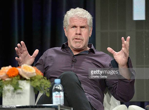Actor Ron Perlman speaks onstage during the 'Hand Of God' panel discussion at the Amazon Studios portion of the 2015 Summer TCA Tour on August 3 2015...