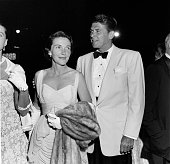 Actor Ronald Reagan and his wife actress Nancy Reagan attend the premiere of 'King and I' in Los AngelesCA