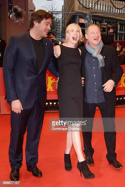 Actor Ronald Zehrfeld director Feo Aladag and Burghart Klaussner attend the 'Inbetween Worlds' premiere during 64th Berlinale International Film...