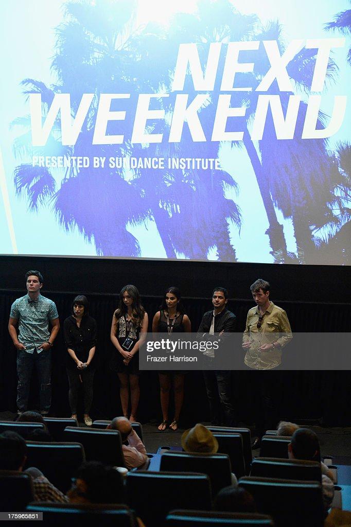 Actor Ronen Rubinstein director Eliza Hittman actors Gina Piersanti and Giovanna Salimeni and producers Shrihari Sathe and speak onstage during 'It...