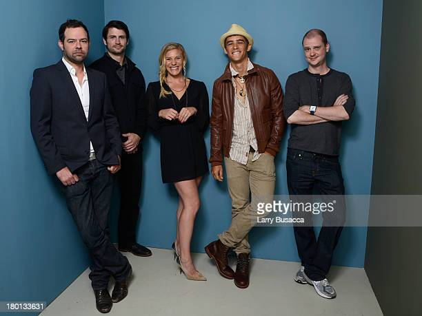 Actor Rory Cochrane actor James Lafferty actress Katee Sackhoff actor Brenton Thwaites and director Mike Flanagan of 'Oculus' pose at the Guess...