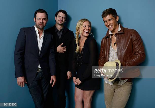 Actor Rory Cochrane actor James Lafferty actress Katee Sackhoff and actor Brenton Thwaites of 'Oculus' pose at the Guess Portrait Studio during 2013...