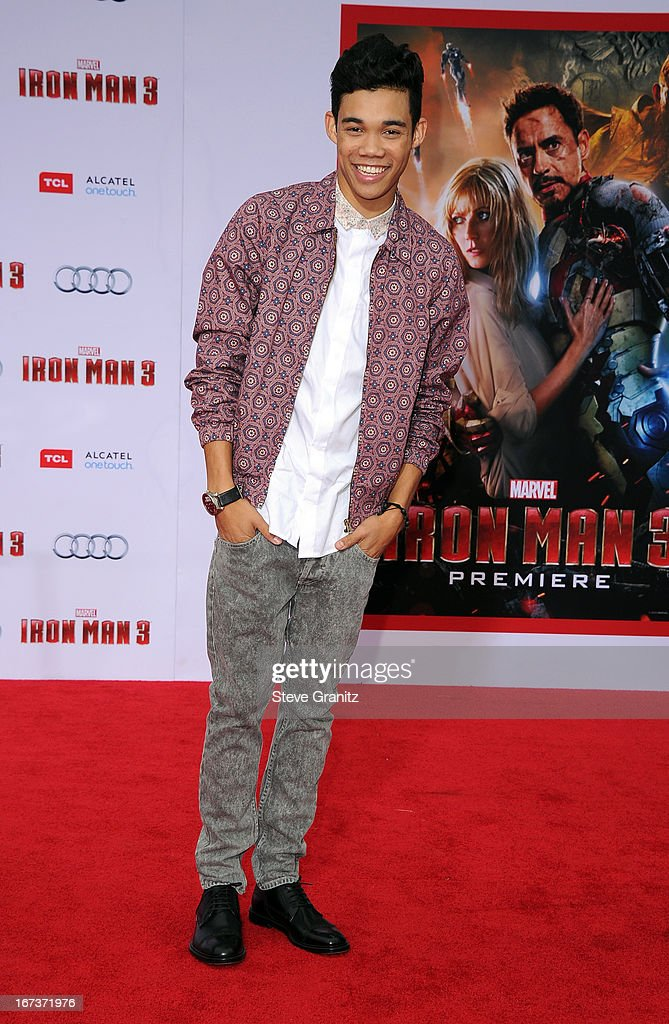 Actor Roshon Fegan arrives at the 'Iron Man 3' Los Angeles premiere at the El Capitan Theatre on April 24 2013 in Hollywood California