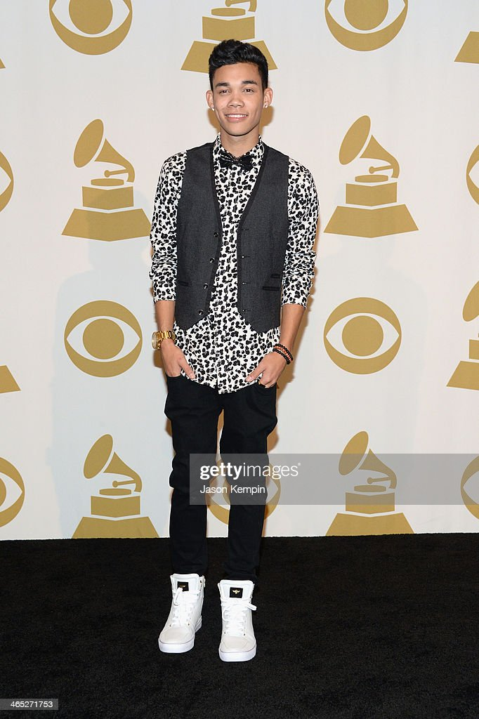 Actor Roshon Fegan poses in the press room during the 56th GRAMMY Awards at Staples Center on January 26 2014 in Los Angeles California