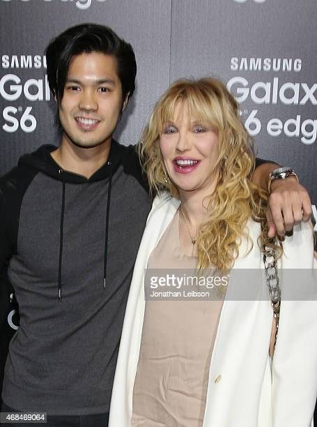 Actor Ross Butler and singer Courtney Love attend the Samsung Galaxy S 6 edge launch on April 2 2015 in Los Angeles California