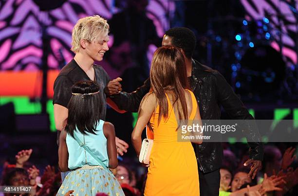 Actor Ross Lynch accepts the Favorite TV Actor award for 'Austin Ally' onstage during Nickelodeon's 27th Annual Kids' Choice Awards held at USC Galen...