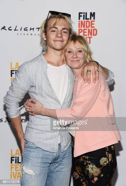 Actor Ross Lynch and actress Anne Heche attend the 2017 Los Angeles Film Festival 'My Friend Dahmer' premiere at the ArcLight Santa Monica on June 18...