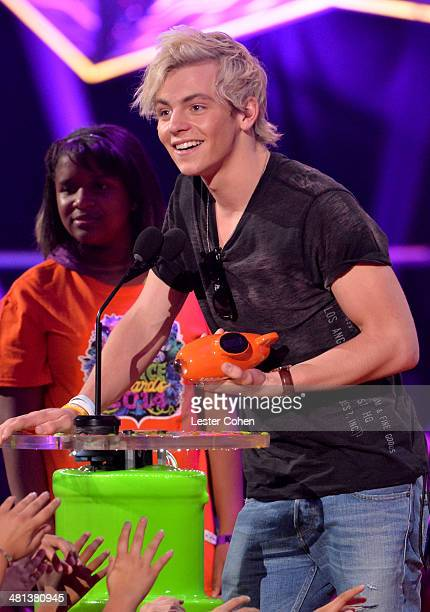 Actor Ross Lynch speaks onstage during Nickelodeon's 27th Annual Kids' Choice Awards held at USC Galen Center on March 29 2014 in Los Angeles...