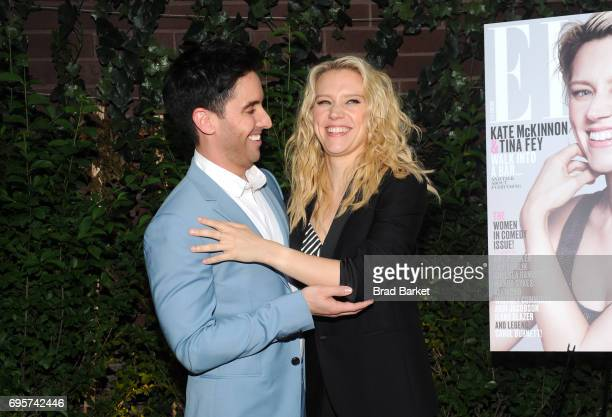 Actor Rough Night producer Paul W Downs and July cover star comedian actress Kate McKinnon attend as ELLE hosts Women In Comedy event with July Cover...
