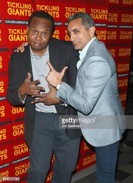 Actor Roy Wood Jr and writer/TV host Bassem Youssef attend the 'Tickling Giants' New York premiere at IFC Center on March 16 2017 in New York City