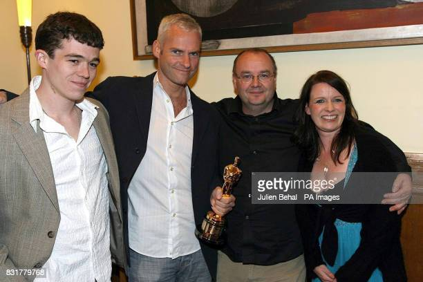 Actor Ruaidhri Conroy director Martin McDonagh producer John McDonnell and coproducer Mary Mccarthy in the Clarence Hotel Dublin Friday April 7 for a...