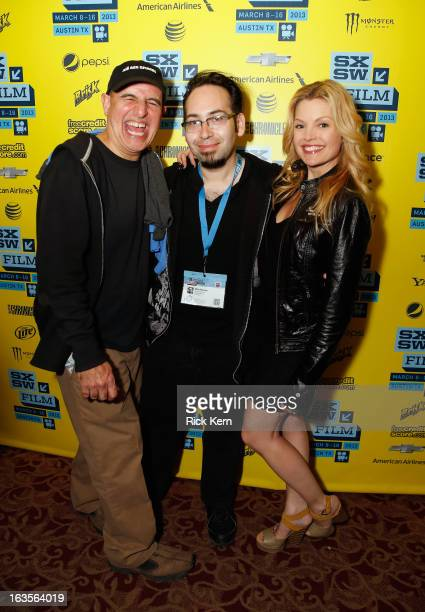 Actor Ruben Pla director Mike Mendez and actress Clare Kramer pose for a photo at the 'Big Ass Spider' screening during the 2013 SXSW Music Film...