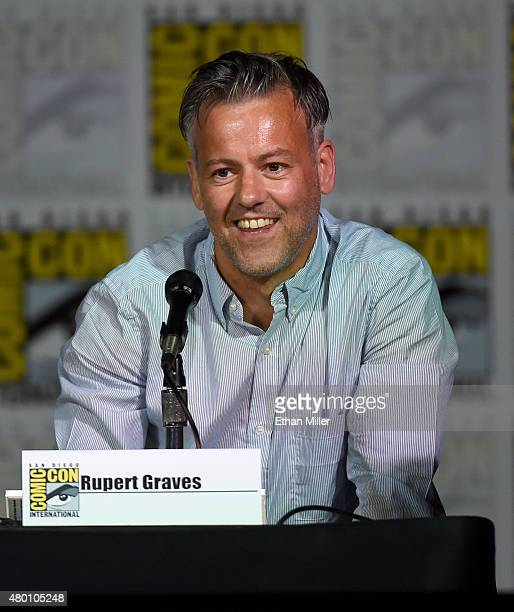Actor Rupert Graves speaks onstage at the 'Sherlock' panel during ComicCon International 2015 at the San Diego Convention Center on July 9 2015 in...