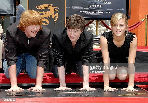 Actor Rupert Grint actor Daniel Radcliffe and actress Emma Watson attend the 'Harry Potter and the Order of the Phoenix' Hand Footprint and Wand...