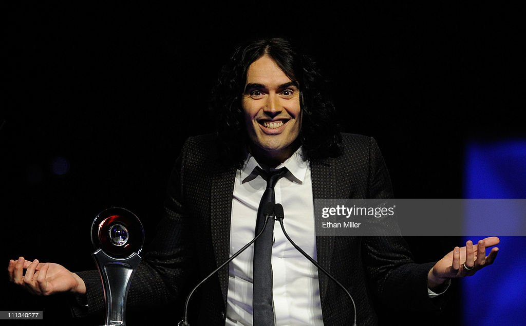 Actor Russell Brand accepts the Comedy Star of the Year award at the CinemaCon awards ceremony at The Colosseum at Caesars Palace during CinemaCon, the official convention of the National Association of Theatre Owners, March 31, 2011 in Las Vegas, Nevada.