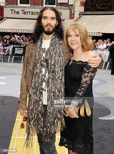 Actor Russell Brand and mother Barbara attend the European Premiere of 'Rock Of Ages' at Odeon Leicester Square on June 10 2012 in London England