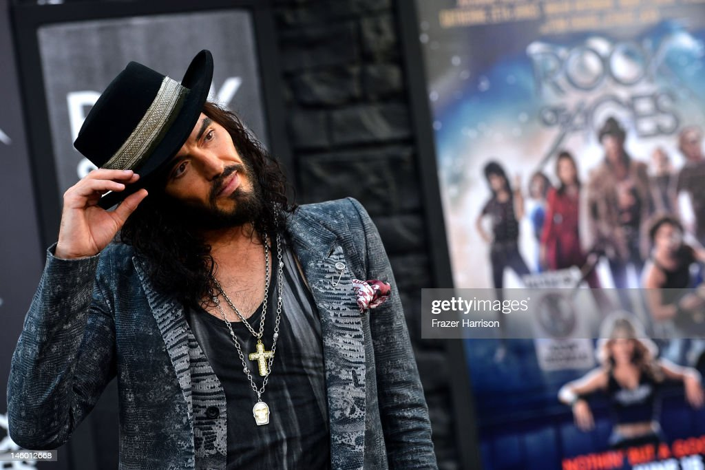 Actor <a gi-track='captionPersonalityLinkClicked' href=/galleries/search?phrase=Russell+Brand&family=editorial&specificpeople=536593 ng-click='$event.stopPropagation()'>Russell Brand</a> arrives at the premiere of Warner Bros. Pictures' 'Rock of Ages' at Grauman's Chinese Theatre on June 8, 2012 in Hollywood, California.