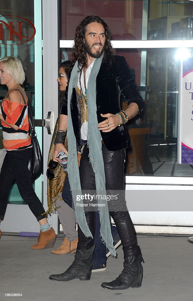 Actor <a gi-track='captionPersonalityLinkClicked' href=/galleries/search?phrase=Russell+Brand&family=editorial&specificpeople=536593 ng-click='$event.stopPropagation()'>Russell Brand</a> attends the premiere of Focus Features' 'Anna Karenina' held at ArcLight Cinemas on November 14, 2012 in Hollywood, California.